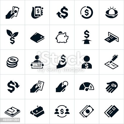 Icons showing US currency in different forms. The icons include cash, coins, credit cards, dollar signs and other items to symbolize money. They show money being exchanged, held, handled, issued and distributed.