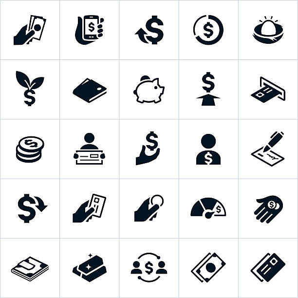 United States Currency and Money Icons Icons showing US currency in different forms. The icons include cash, coins, credit cards, dollar signs and other items to symbolize money. They show money being exchanged, held, handled, issued and distributed. wages stock illustrations