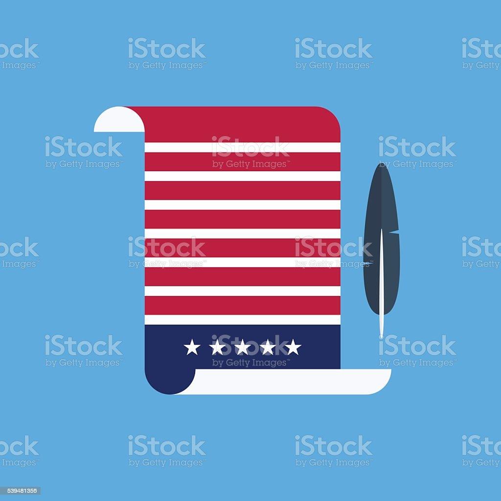 United States Declaration of Independence flat style design. vector art illustration