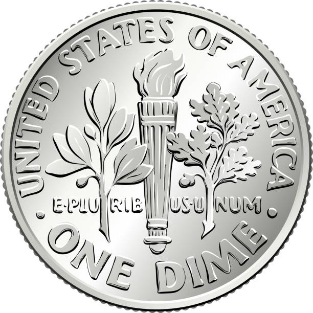 United States dime coin reverse American money Roosevelt dime, United States one dime or 10-cent silver coin, olive branch, torch, oak branch on reverse dime stock illustrations