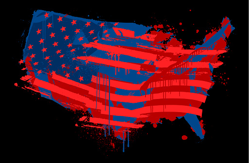 Grungy fractured and broken vector map of The USA with the red and blue flag overlayed