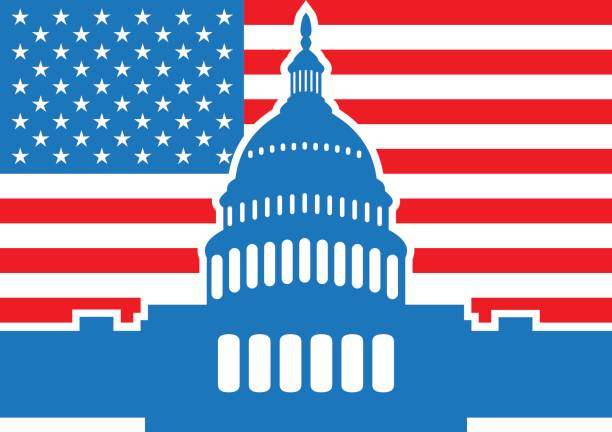 united states flag and capitol building - abgeordnetenhaus stock-grafiken, -clipart, -cartoons und -symbole