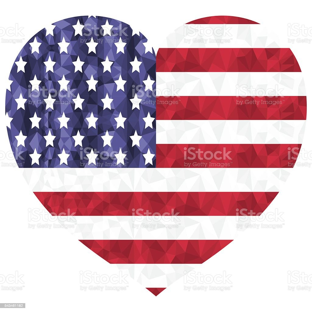 United States flag  as a symbol in heart shape vector art illustration