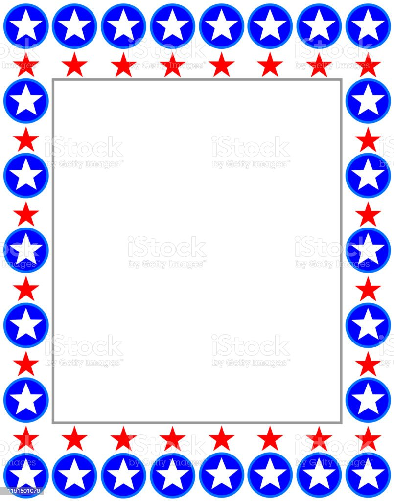 United States flag decorative banner frame card with empty space for...