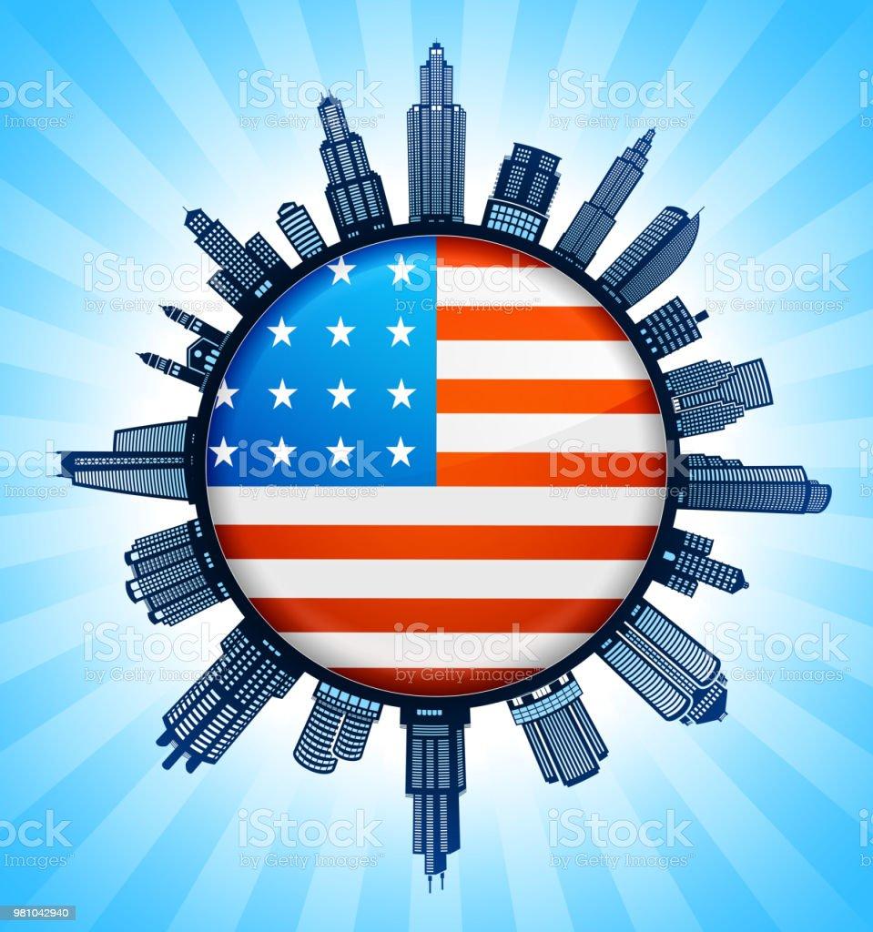 United States Flag Black and White Cityscape Skyline Background vector art illustration