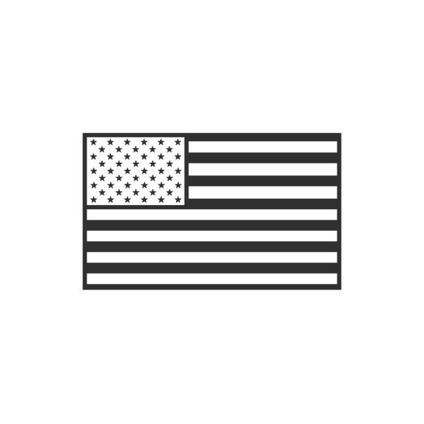 United States flag icon in black outline flat design vector art illustration