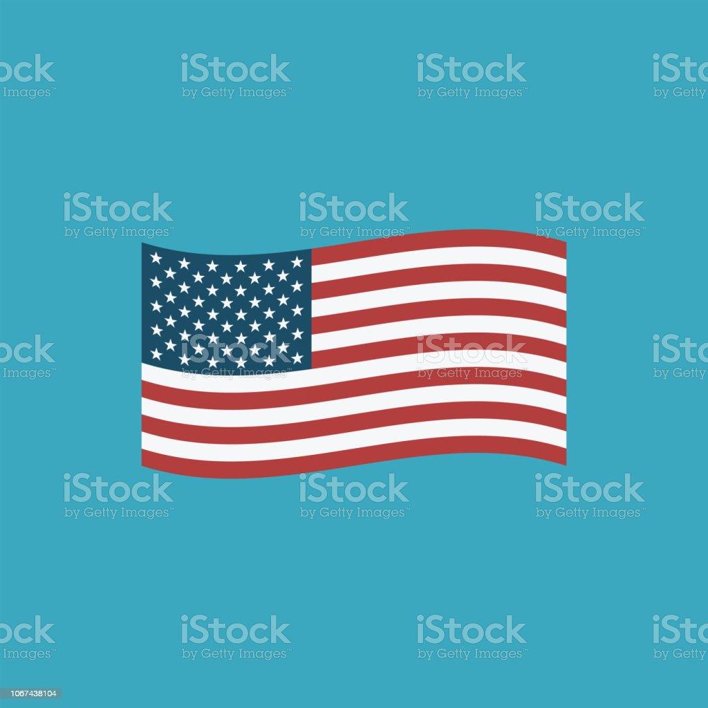 United States flag icon in flat design vector art illustration