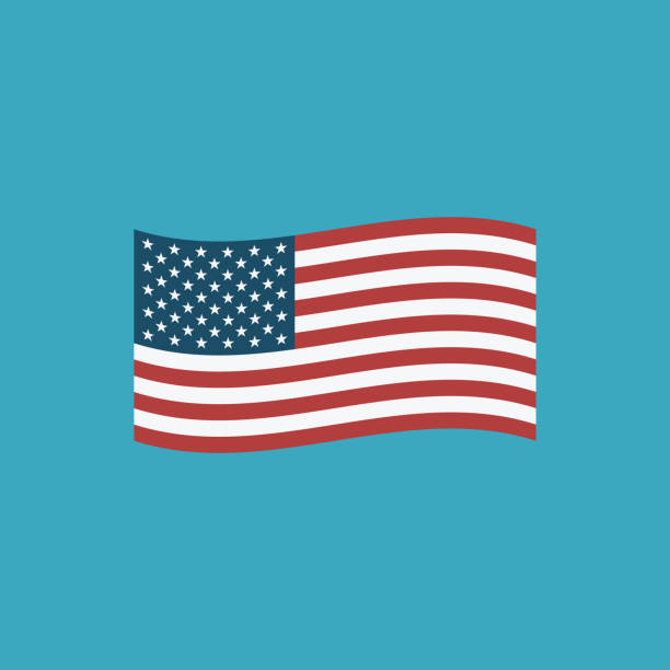 United States flag icon in flat design vector art illustration