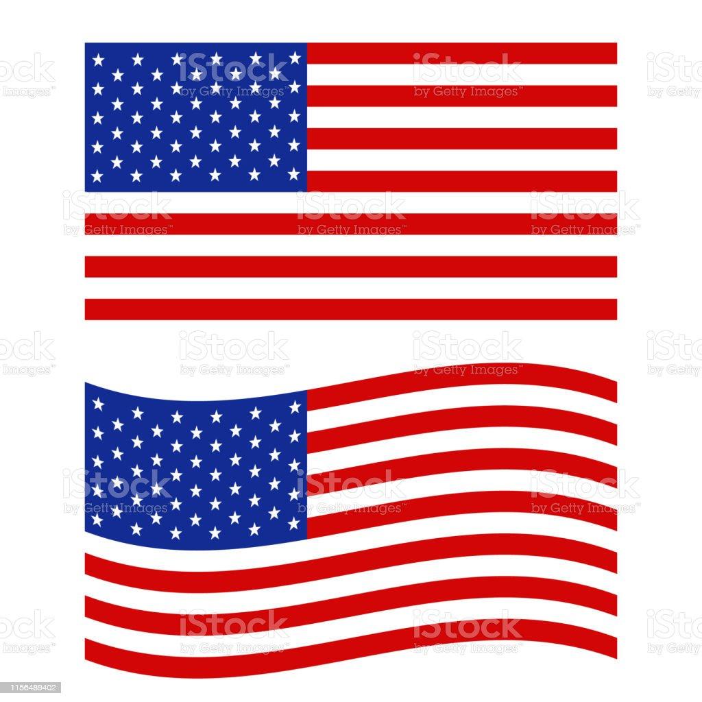 United States flag icon on white background. flat style. Flag of the...