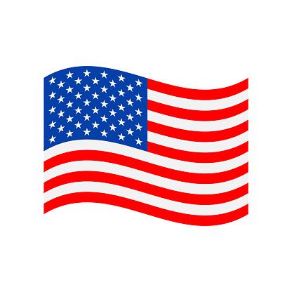 United States Flag Icon Vector Illustration - Wave