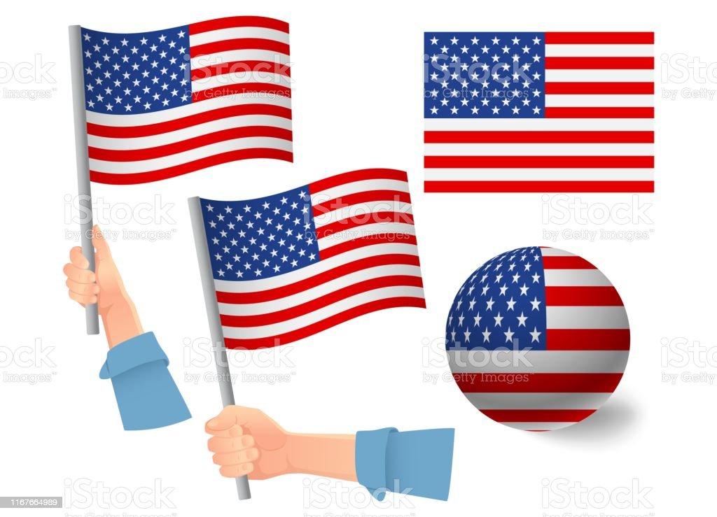 United States of America flag in hand set. Ball flag. National flag...