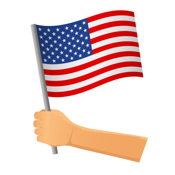 United States flag in hand vector art illustration