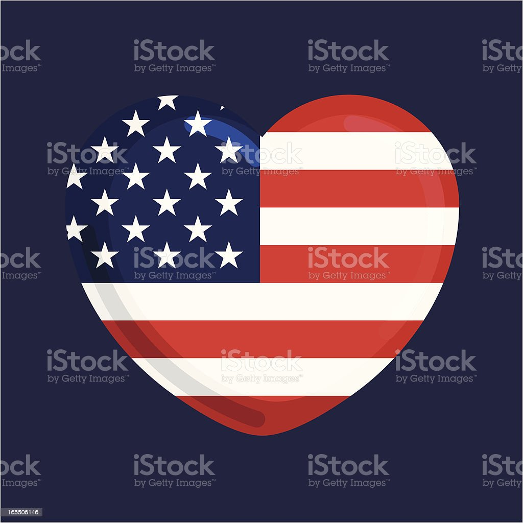 United States flag in the shape of a heart vector art illustration