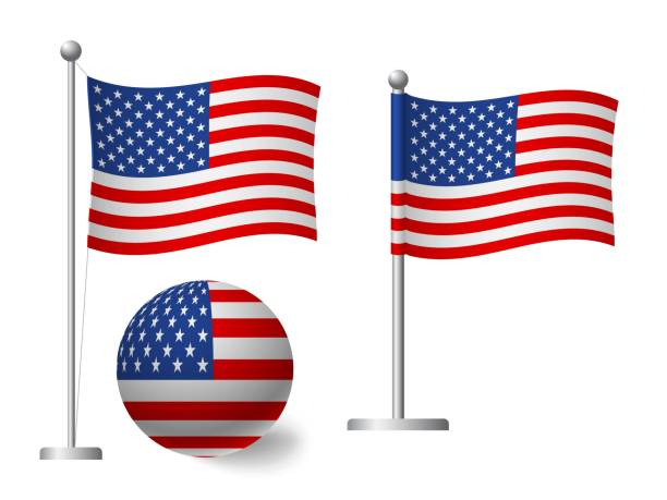 United States flag on pole and ball icon United States of America flag on pole and ball. Metal flagpole. National flag of United States of America vector illustration flagpole stock illustrations