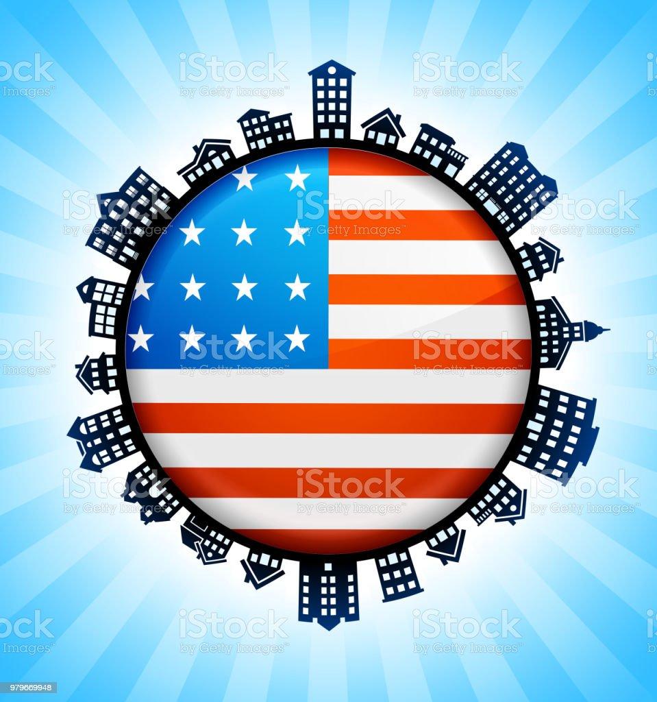United States Flag on Rural Cityscape Skyline Background vector art illustration