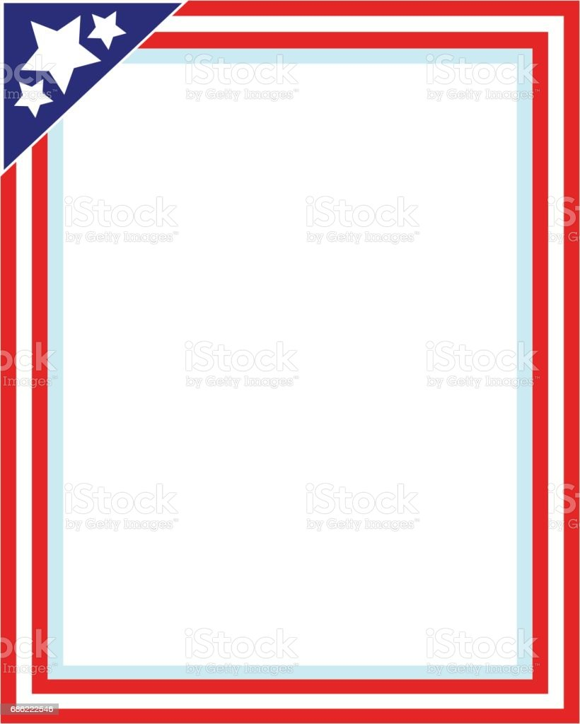 United States flag picture frame for photo vector art illustration