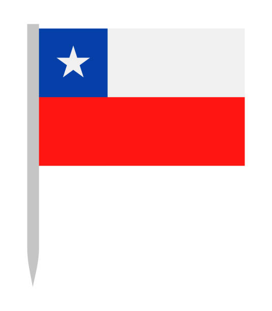 10 - united states - flag pin flat - chile flag stock illustrations, clip art, cartoons, & icons