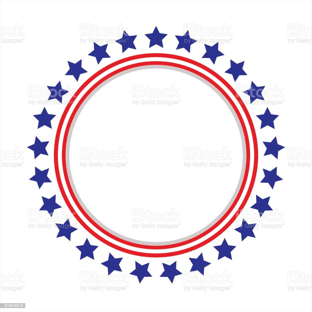 United States flag round frame. vector art illustration