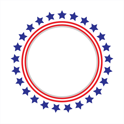 United States Flag Round Frame Stock Illustration - Download Image Now