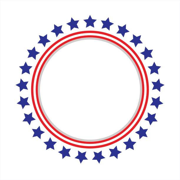 united states flag round frame. - us flag stock illustrations