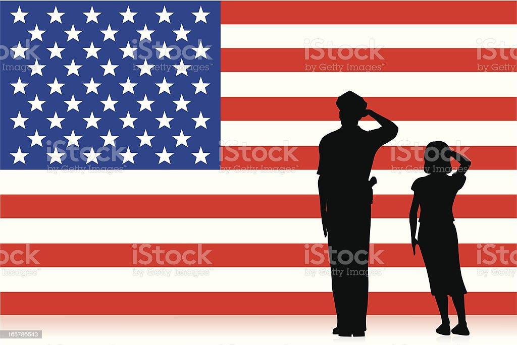 United States Flag Salute vector art illustration