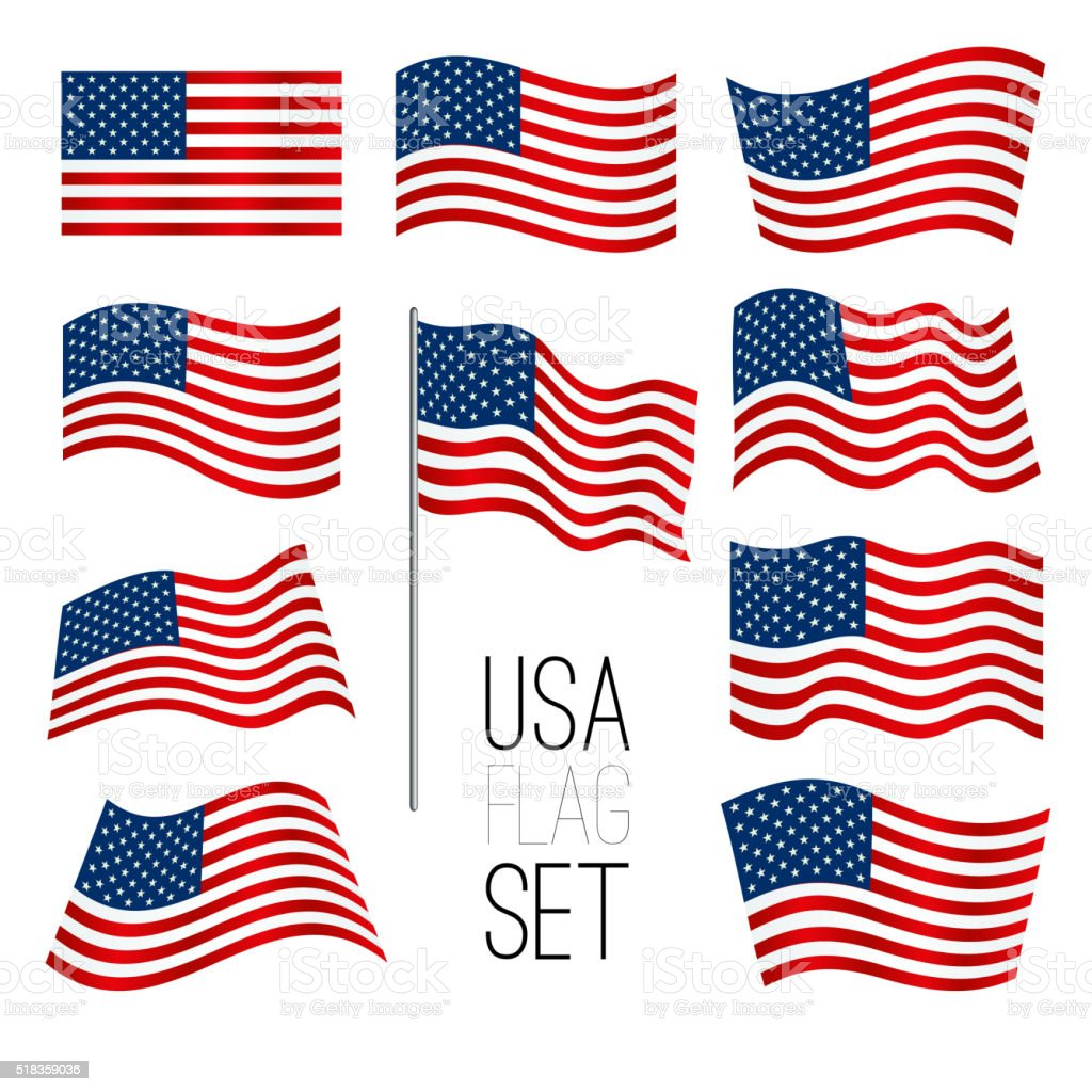 United States flag set vector art illustration