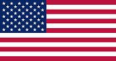 United states flag. Standard sizes and colors. Vector illustration.