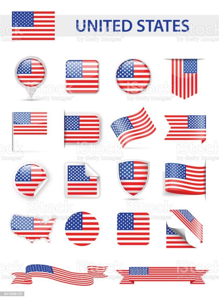 United States Flag Vector Set vector art illustration