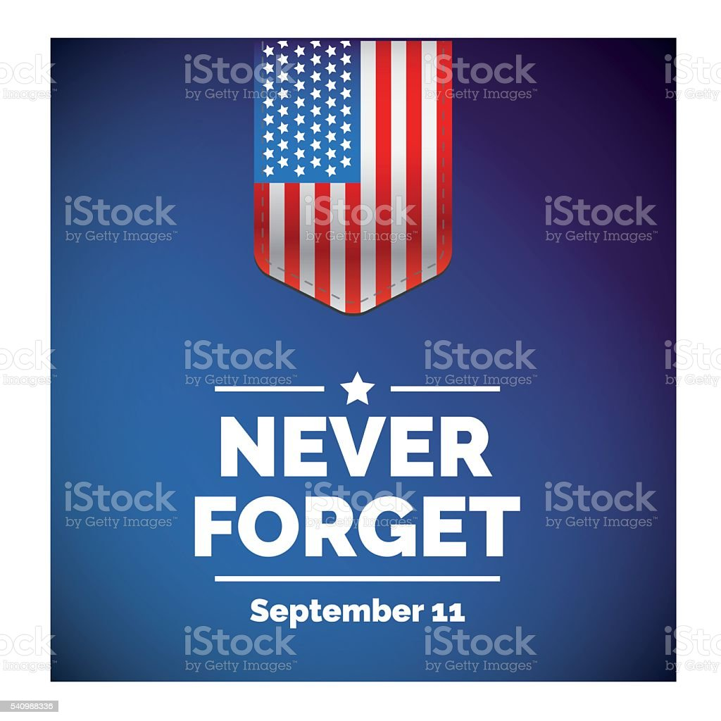 United States Flag with 9/11 concept vector vector art illustration