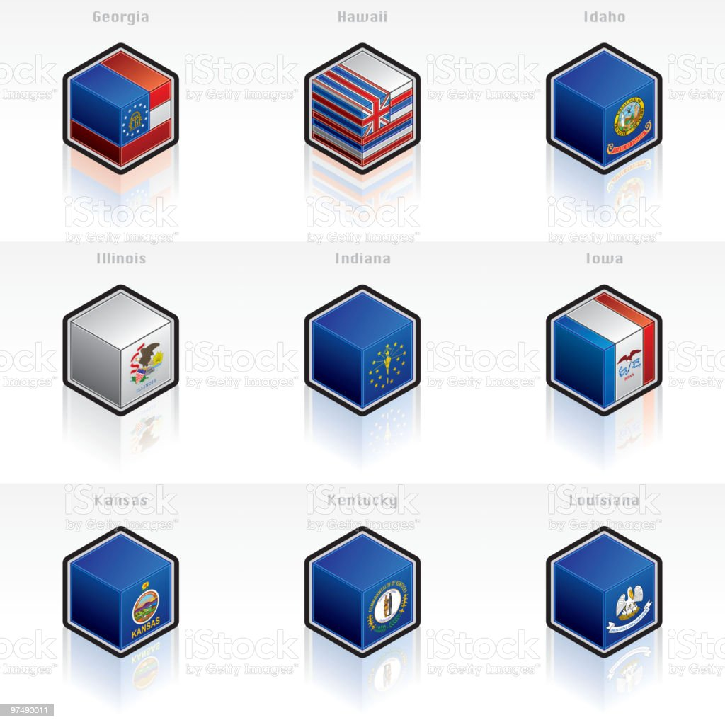 United States Flags Icons Set. Design Elements royalty-free united states flags icons set design elements stock vector art & more images of box - container