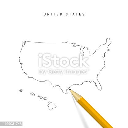 United States sketch outline map isolated on white background. Empty hand drawn vector map of the USA. Realistic 3D pencil with soft shadow.