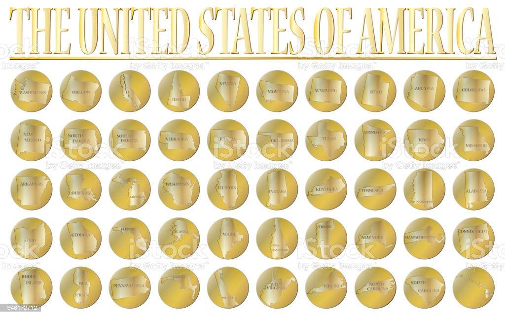 50 United States Gold Coins vector art illustration