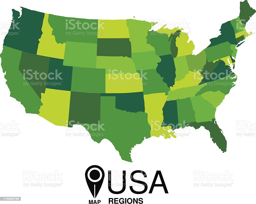 United States Green Map Detailed Vector Stock Vector Art & More ...