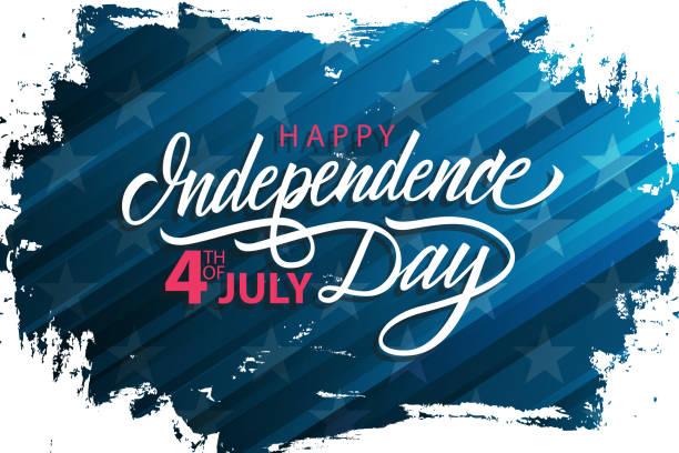 미국 행복 한 독립 기념일 블루 브러쉬 스트로크 배경 및 필기 휴일 인사말 배너 축 하 합니다. 7 월 휴일의 제 4입니다. - independence day stock illustrations