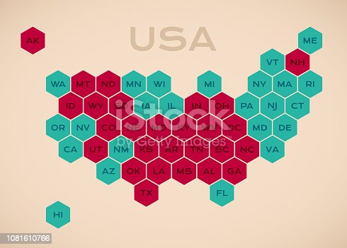 United States hexagonal state data information infographic map.