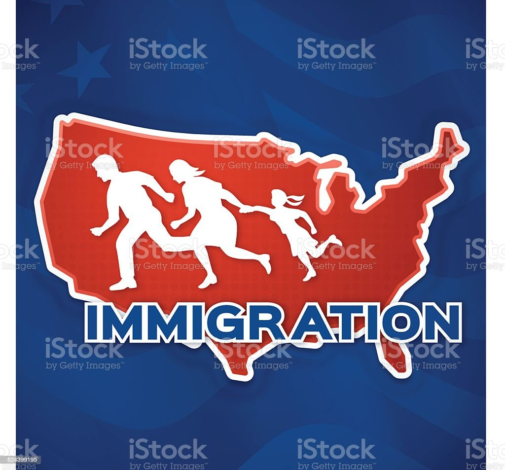 United States Immigration vector art illustration
