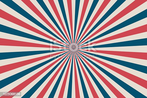 United States Independence Day 4th of July or Memorial Day background. Retro patriotic vector illustration. Concentric stripes in colors of American flag. Red, blue and white rays.