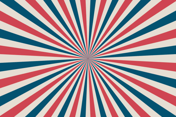United States Independence Day 4th of July or Memorial Day background. Retro patriotic vector illustration. Concentric stripes in colors of American flag. United States Independence Day 4th of July or Memorial Day background. Retro patriotic vector illustration. Concentric stripes in colors of American flag. Red, blue and white rays. independence day holiday stock illustrations