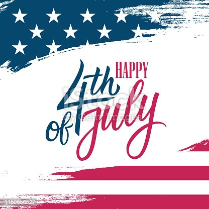 United States Independence Day greeting card with USA national flag brush stroke background and hand lettering text Happy 4th of July. Vector illustration.