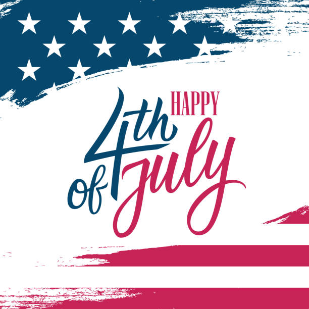 united states independence day greeting card with usa national flag brush stroke background and hand lettering text happy 4th of july. - happy 4th of july stock illustrations