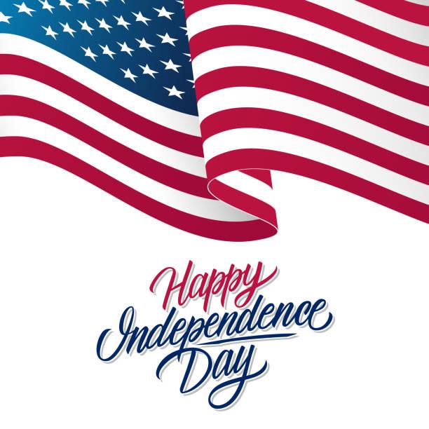 ilustraciones, imágenes clip art, dibujos animados e iconos de stock de tarjeta de felicitación día de la independencia de estados unidos con bandera nacional americana que agita y mano deletreado texto feliz día de la independencia. - independence day