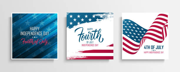 United States Independence Day greeting cards set with american national flag. Fourth of July, USA national holiday. vector art illustration