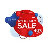 Fourth of July USA independence day sale banner with abstract liquid in memphis design style. 4th of July celebration Vector illustration