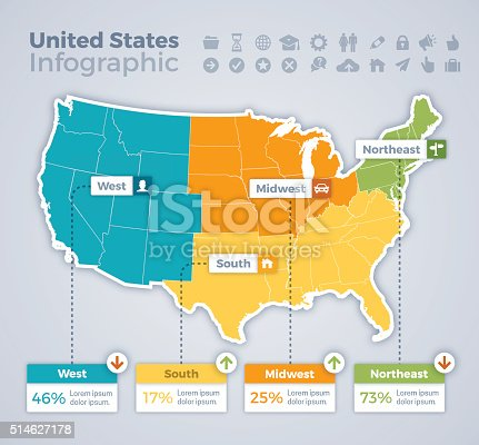United States infographic map concept with space for your copy. EPS 10 file. Transparency effects used on highlight elements.