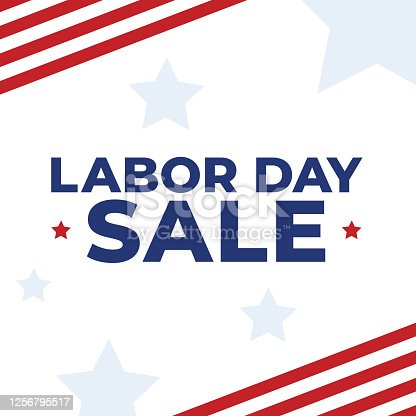 istock United States Labor Day Sale Vector Text With Patriotic American Flag Stripes and Stars White Background, Square Illustration 1256795517