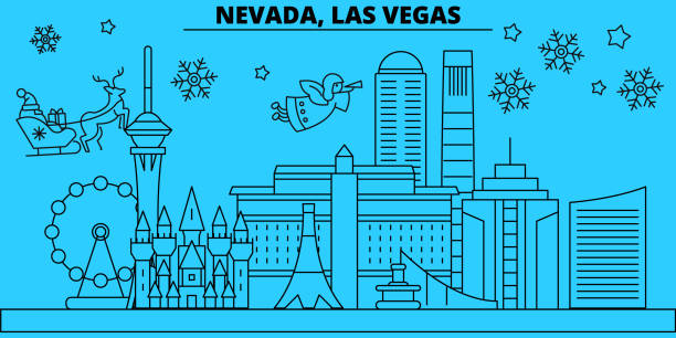 vector vector art illustration united states las vegas winter holidays skyline merry christmas happy new year decorated