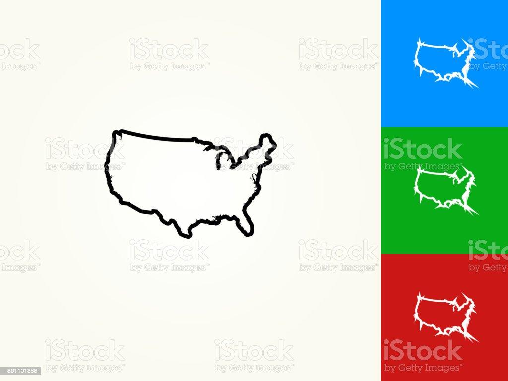 Icône linéaires de la carte de contour noir aux États-Unis - Illustration vectorielle