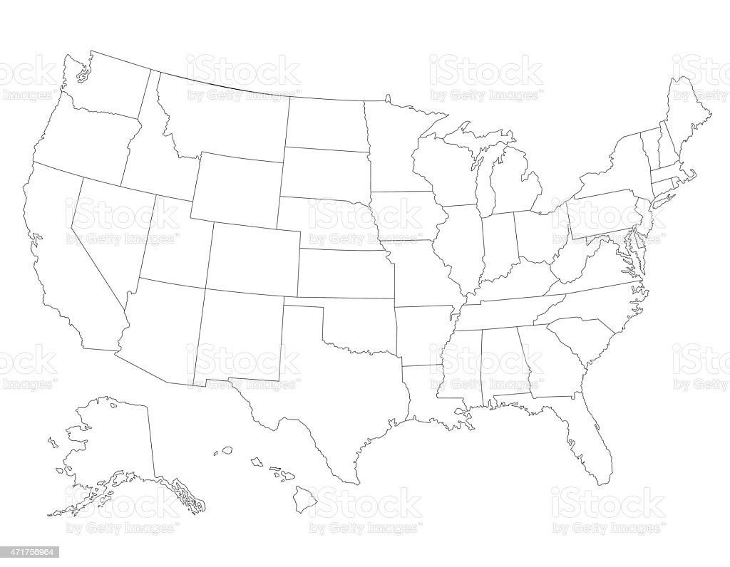 United States Map High Detailed Border Stock Vector Art - Map of us vector