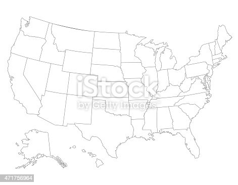 United States Map High Detailed Border Stock Vector Art - Sketch drawing us with states map
