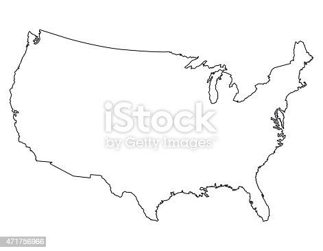 United States Map High Detailed Border Stock Vector Art More - Vector map of us